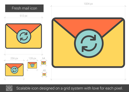 Fresh mail vector line icon isolated on white background. Fresh mail line icon for infographic, website or app. Scalable icon designed on a grid system.
