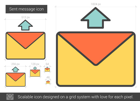 scalable: Send message vector line icon isolated on white background. Sent message line icon for infographic, website or app. Scalable icon designed on a grid system.