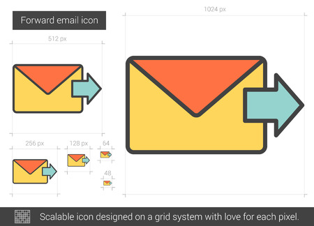scalable: Forward email vector line icon isolated on white background. Forward email line icon for infographic, website or app. Scalable icon designed on a grid system. Illustration