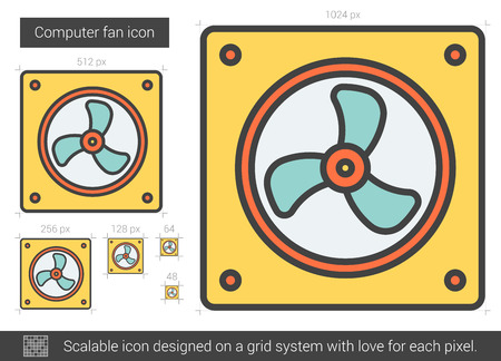 scalable: Computer fan vector line icon isolated on white background. Computer fan line icon for infographic, website or app. Scalable icon designed on a grid system. Illustration