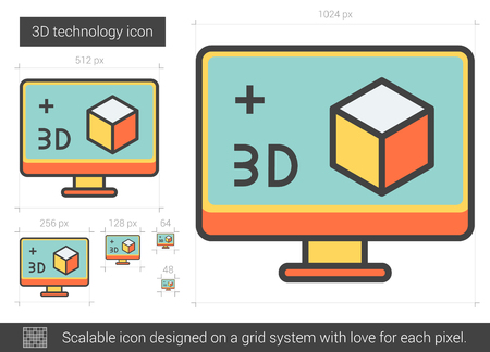 Three d technology vector line icon isolated on white background. Three d technology line icon for infographic, website or app. Scalable icon designed on a grid system. Ilustração