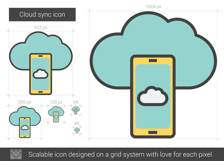 data synchronization: Cloud sync vector line icon isolated on white background. Cloud sync line icon for infographic, website or app. Scalable icon designed on a grid system. Illustration