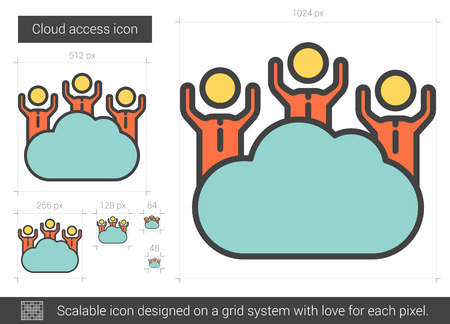 Cloud access vector line icon isolated on white background. Cloud access line icon for infographic, website or app. Scalable icon designed on a grid system. 矢量图像