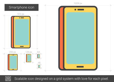 lcd display: Smartphone vector line icon isolated on white background. Smartphone line icon for infographic, website or app. Scalable icon designed on a grid system.