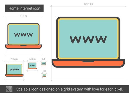 scalable: Home internet vector line icon isolated on white background. Home internet line icon for infographic, website or app. Scalable icon designed on a grid system. Illustration