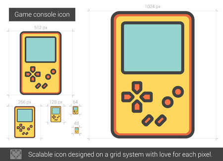 scalable: Game console vector line icon isolated on white background. Game console line icon for infographic, website or app. Scalable icon designed on a grid system. Illustration