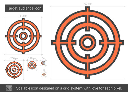 Target audience vector line icon isolated on white background. Target audience line icon for infographic, website or app. Scalable icon designed on a grid system.