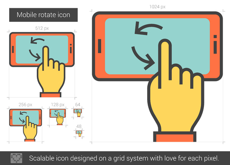 scalable: Mobile rotate vector line icon isolated on white background. Mobile rotate line icon for infographic, website or app. Scalable icon designed on a grid system. Illustration