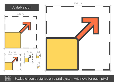 Scalable vector line icon isolated on white background. Scalable line icon for infographic, website or app. Scalable icon designed on a grid system. Illustration