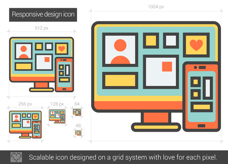 electronic device: Responsive design vector line icon isolated on white background. Responsive design line icon for infographic, website or app. Scalable icon designed on a grid system.