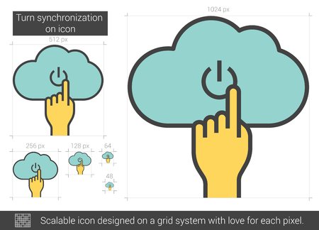 cloud computer: Turn synchronization on vector line icon isolated on white background. Turn synchronization on line icon for infographic, website or app. Scalable icon designed on a grid system.