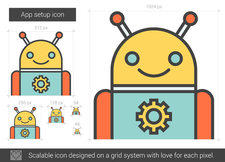 electronic device: App setup vector line icon isolated on white background. App setup line icon for infographic, website or app. Scalable icon designed on a grid system.