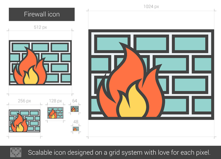Firewall vector line icon isolated on white background. Firewall line icon for infographic, website or app. Scalable icon designed on a grid system. Illustration