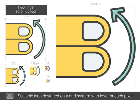 scalable: Two-finger scroll up vector line icon isolated on white background. Two-finger scroll up line icon for infographic, website or app. Scalable icon designed on a grid system.