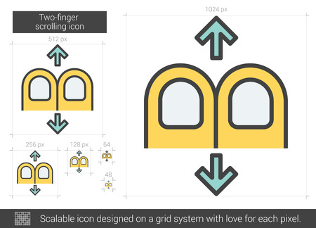 scrolling: Two-finger scrolling vector line icon isolated on white background. Two-finger scrolling line icon for infographic, website or app. Scalable icon designed on a grid system.
