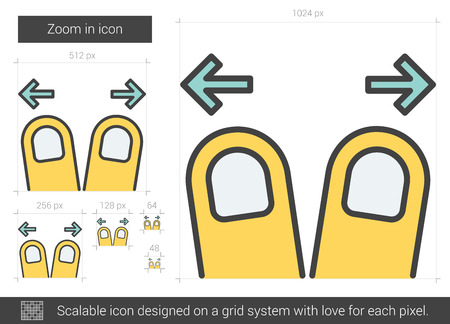 taps: Zoom in vector line icon isolated on white background. Zoom in line icon for infographic, website or app. Scalable icon designed on a grid system. Illustration