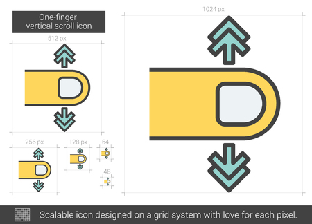 scalable: One-finger vertical scroll vector line icon isolated on white background. One-finger vertical scroll line icon for infographic, website or app. Scalable icon designed on a grid system.