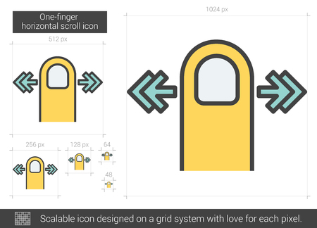 scalable: One-finger horizontal scroll vector line icon isolated on white background. One-finger horizontal scroll line icon for infographic, website or app. Scalable icon designed on a grid system.
