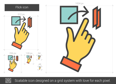 snapping fingers: Flick vector line icon isolated on white background. Flick line icon for infographic, website or app. Scalable icon designed on a grid system.