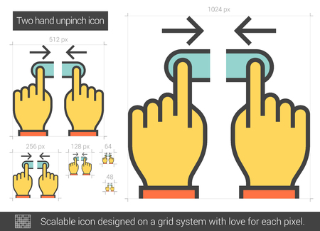 scalable: Two hand unpinch vector line icon isolated on white background. Two hand unpinch line icon for infographic, website or app. Scalable icon designed on a grid system.