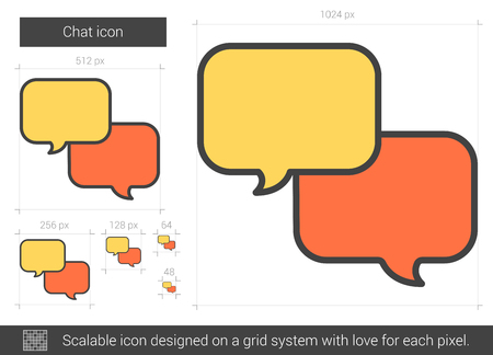 scalable: Chat vector line icon isolated on white background. Chat line icon for infographic, website or app. Scalable icon designed on a grid system.