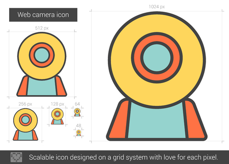 scalable: Web camera vector line icon isolated on white background. Web camera line icon for infographic, website or app. Scalable icon designed on a grid system. Illustration