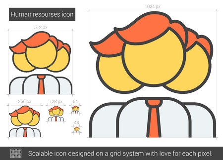 scalable: Human resources vector line icon isolated on white background. Human resources line icon for infographic, website or app. Scalable icon designed on a grid system. Illustration