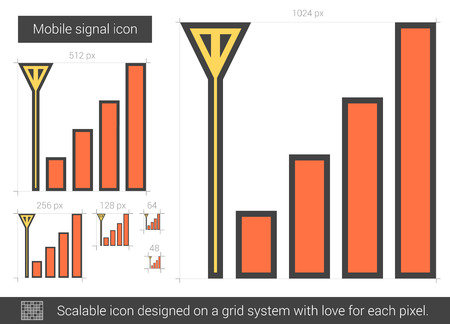 wireless signal: Mobile signal vector line icon isolated on white background. Mobile signal line icon for infographic, website or app. Scalable icon designed on a grid system. Illustration