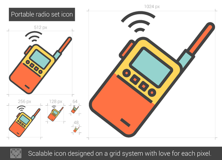 scalable: Portable radio set vector line icon isolated on white background. Portable radio set line icon for infographic, website or app. Scalable icon designed on a grid system.