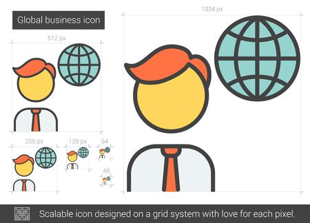 グローバル ビジネス ベクトル線のアイコンが白い背景で隔離。インフォ グラフィック、ウェブサイトまたはアプリ スケーラブルなアイコンのグロ  イラスト・ベクター素材