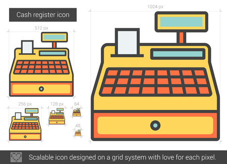 scalable: Cash register vector line icon isolated on white background. Cash register line icon for infographic, website or app. Scalable icon designed on a grid system.