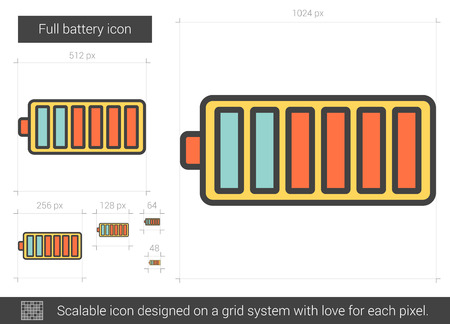 scalable: Full battery vector line icon isolated on white background. Full battery line icon for infographic, website or app. Scalable icon designed on a grid system.