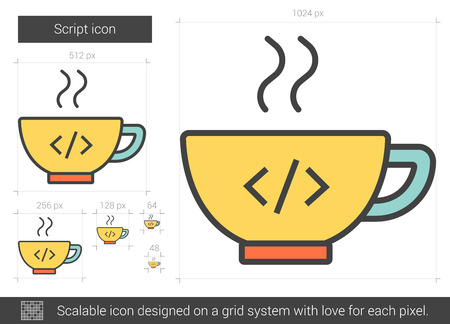 Script vector line icon isolated on white background. Script line icon for infographic, website or app. Scalable icon designed on a grid system. Ilustração