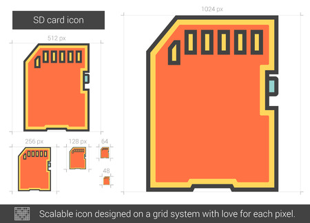 gigabyte: SD card vector line icon isolated on white background. SD card line icon for infographic, website or app. Scalable icon designed on a grid system. Illustration