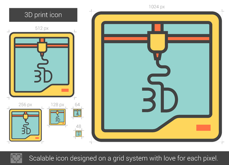 Three D print vector line icon isolated on white background. Three D print line icon for infographic, website or app. Scalable icon designed on a grid system. Illustration