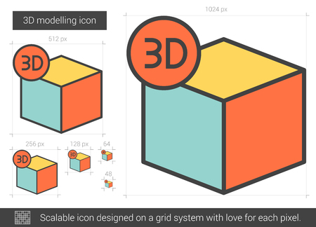 three d: Three D modelling vector line icon isolated on white background. Three D modelling line icon for infographic, website or app. Scalable icon designed on a grid system. Illustration