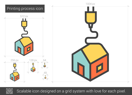 polymerization: Printing process vector line icon isolated on white background. Printing process line icon for infographic, website or app. Scalable icon designed on a grid system.