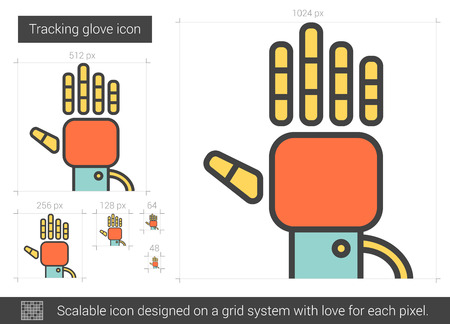 prosthetic equipment: Tracking glove vector line icon isolated on white background. Tracking glove line icon for infographic, website or app. Scalable icon designed on a grid system. Illustration