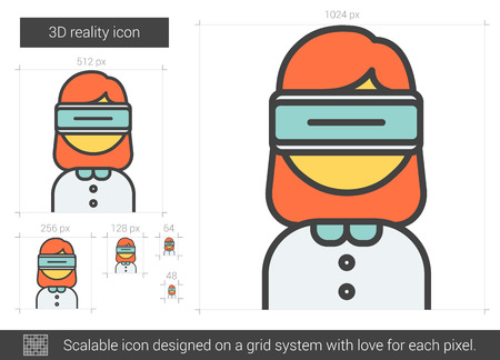 scalable: Three D reality vector line icon isolated on white background. Three D reality line icon for infographic, website or app. Scalable icon designed on a grid system.