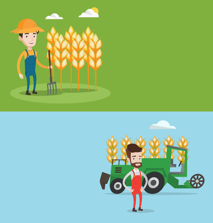 cultivator: Two agricultural banners with space for text. Vector flat design. Horizontal layout. Farmer standing with pitchfork on the background of wheat field. Farmer working with pitchfork in wheat field.