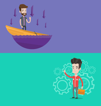 leaking: Two business banners with space for text. Vector flat design. Horizontal layout. Businessman asking for help in a sinking boat. Man sinking and arrows pointing down symbolizing business bankruptcy.