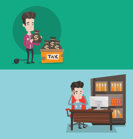 Two business banners with space for text. Vector flat design. Horizontal layout. Chained to a large ball businessman standing near box with bags full of taxes. Concept of tax time and taxpayer.