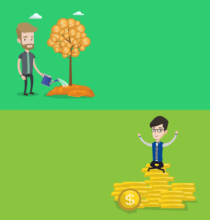Two business banners with space for text. Vector flat design. Horizontal layout. Man watering a financial tree. Businessman investing in future financial safety. Businessman taking care of finances. Illusztráció