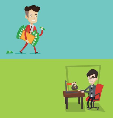 bribery: Two business banners with space for text. Vector flat design. Horizontal layout. Caucasian businessman committing economic crime. Happy businessman stealing money. Bribery and economic crime concept. Illustration