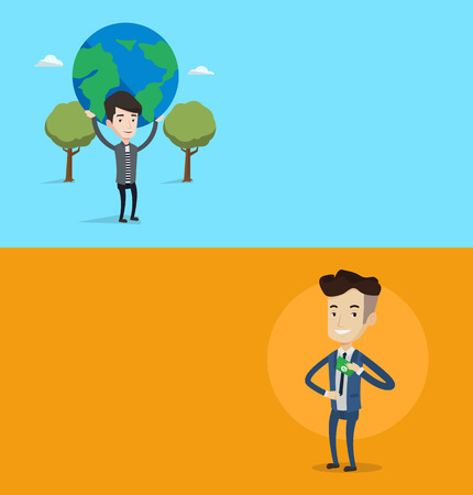 putting money in pocket: Two business banners with space for text. Vector flat design. Horizontal layout. Young businessman putting money bribe in his pocket. Businessman hiding money bribe in jacket pocket. Bribery concept.