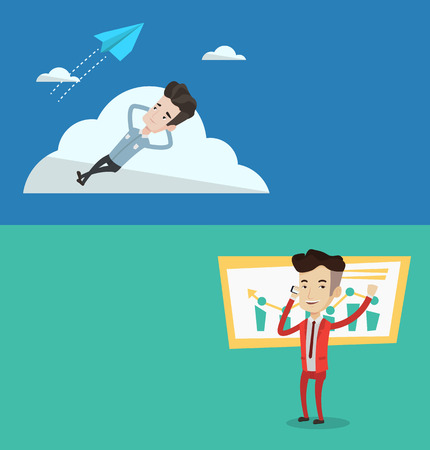 flying paper: Two business banners with space for text. Vector flat design. Horizontal layout. Young businessman lying on a cloud and looking at flying paper plane. Business man relaxing on a cloud.