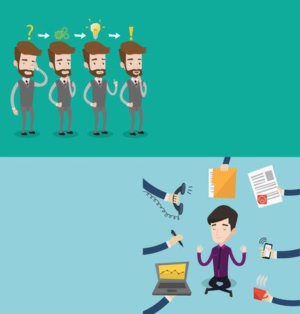 Two business banners with space for text. Vector flat design. Horizontal layout. Young businessman meditating in yoga lotus position. Businessman doing yoga. Man surrounded by hands with office things