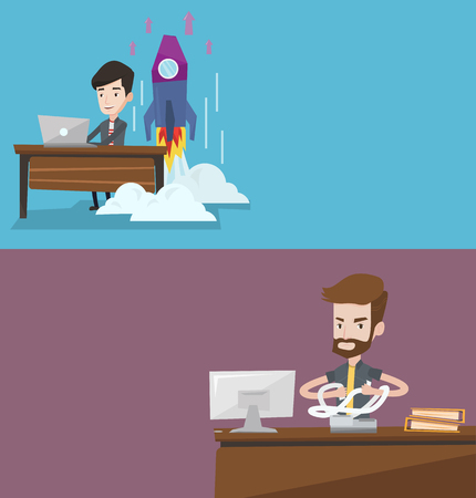 Two business banners with space for text. Vector flat design. Horizontal layout. Businessman sitting in office and tearing furiously invoices. Man calculating invoices. Business bankruptcy concept. Illustration