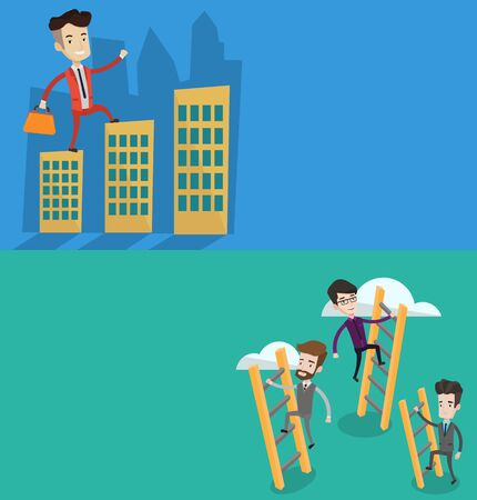 businessman walking: Two business banners with space for text. Vector flat design. Horizontal layout. Businessman walking on roofs of city buildings. Man walking on roofs of skyscrapers. Businessman walking to success. Illustration