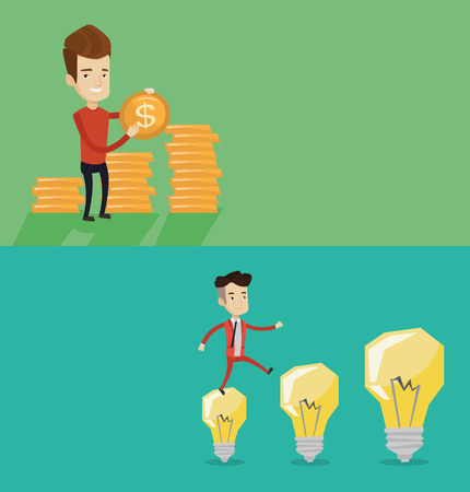 hopping: Two business banners with space for text. Vector flat design. Horizontal layout. Smiling businessman in a suit hopping onto idea bulbs. Businessman jumping on idea bulbs. Concept of business idea. Illustration